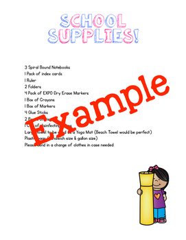 Welcome Letter & School Supply List Template: School Supply Kids Edition