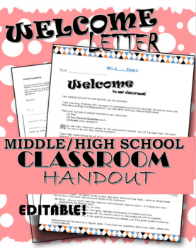 Welcome Letter! Student/Parent Editable