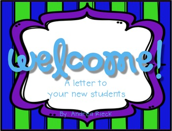 Welcome Letter To Your New Students
