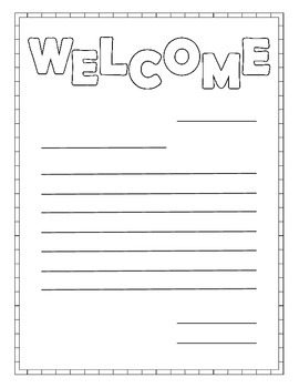 Welcome Letter Writing Paper
