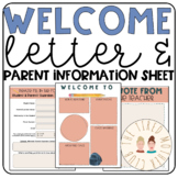 Welcome Letter and Parent Information Sheet for Middle School