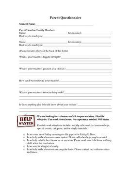 Welcome Letter and Parent Questionnaire
