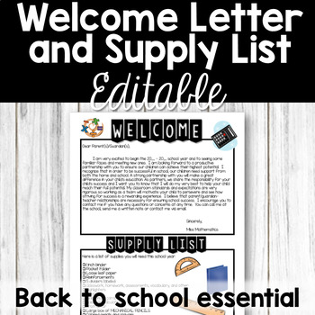 Welcome Letter and Supply List - Back to School Essential