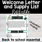 Welcome Letter and Supply List - Chevron - Back to School Essential