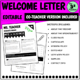 Welcome Letter and Syllabus with Co-Teacher Version Includ