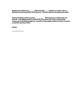 Welcome Letter for Families