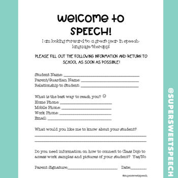 Welcome Letter for Speech Therapy