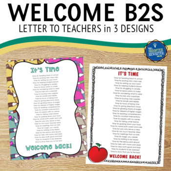 Welcome Letter for Teachers