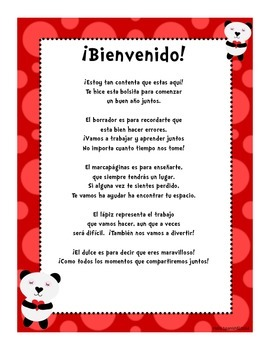 Welcome Letter in Spanish