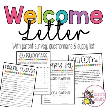 Welcome Letter plus Parent Survey!