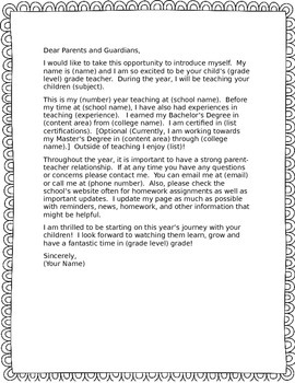 Welcome letter to parents template teaching resources teachers pay welcome letter to parents welcome letter to parents thecheapjerseys Image collections