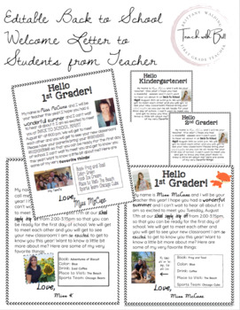 Editable Back to School Welcome Letter to Students from Teacher | TpT