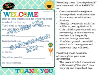 Welcome Letters to New Students and Parents