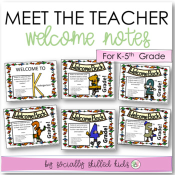 BACK TO SCHOOL  Welcome Notes { Sets For kindergarten-5th Grade }
