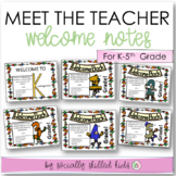 MEET THE TEACHER  Welcome Notes BUNDLE { 6 Sets, 1 For Each Grade, K-5th}