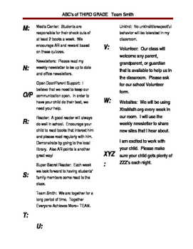 Welcome Packet: ABC's of Third Grade