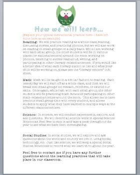 Owl Theme Parent Handbook