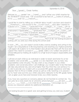 Welcome Parent Letter