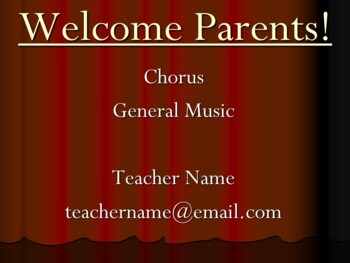 Parent Night, Back to School Night, Open House PowerPoint for Chorus/Music