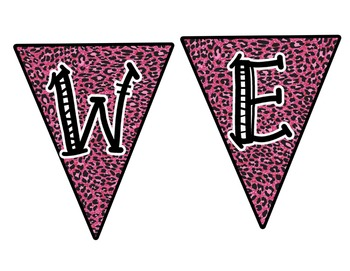 Welcome Pennant Sign Pink Leopard Skin Theme