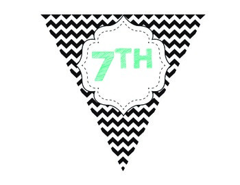 Welcome Pennant Banner (Chevron in Black & White with Aqua)