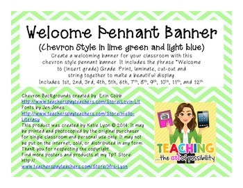 Welcome Pennant Banner (Chevron in Lime Green and Light Blue)