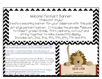 Welcome Pennant Banner (Rainbow Polka Dots)