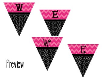 Welcome Pennant  Black Swirl with Pink Chevron