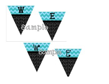 Welcome Pennant  Black Swirl with Teal Chevron