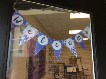 Welcome Pennant/Bunting Banner in Purple