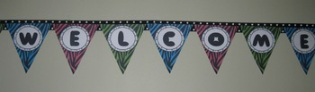 Welcome Pennant Sign - Lime Green, Turquoise, Black,and Pink