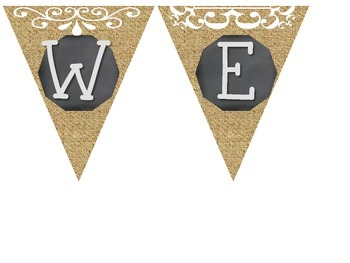 Welcome Pennants Banner (Chalkboard, Burlap, Teal, Tan, and Red)