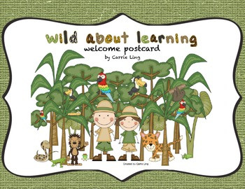 Welcome Postcard Rainforest Safari Jungle Theme- 3rd Grade