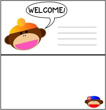Welcome Postcard- Sock Monkey Theme