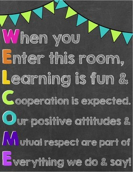 Welcome Poster - Any Classroom or Subject (Chalkboard Style)