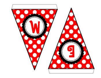 Welcome Red & White Polka Dot Pennant Banner