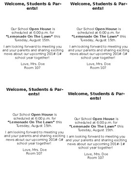 Welcome School Open House Post Card