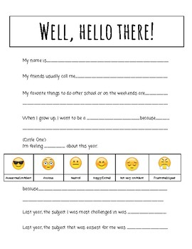 Welcome Sheet