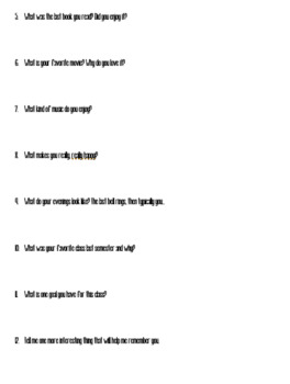 Welcome Sheet with Student Survey