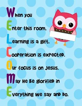 Welcome Sign Acrostic - Polka Dot Owl Theme