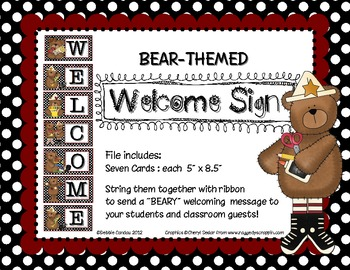 Welcome Sign: Bear Theme