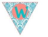 Classroom Welcome Sign - Teal & Coral Damask