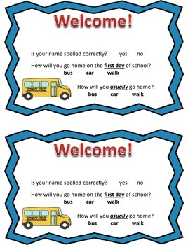 Welcome Sign First Meeting Before School Starts and Transportation Info