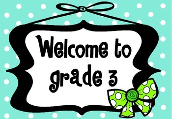 Welcome Sign Grades 1-6 (Blue polka dot with bow)