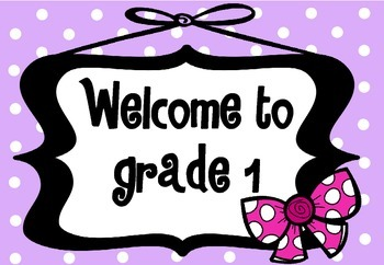 Welcome Sign Grades 1-6 (Purple polka dot with bow)