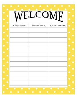 Welcome Sign In for First Days of School in Polka Dot Yellow