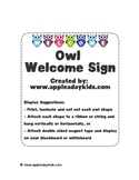 Welcome Sign: Owl Theme