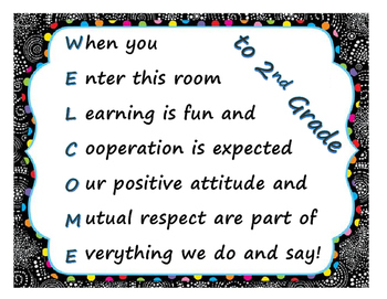 Welcome Sign- Plain & 2nd Grade