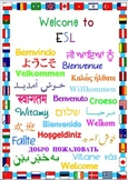 Welcome Sign for ESL Classroom