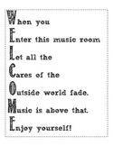 Welcome Sign for Music Classroom